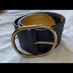Wide brown and gold Tahari belt size M